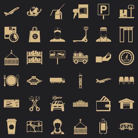 Storage icons set, simple style Ilustração
