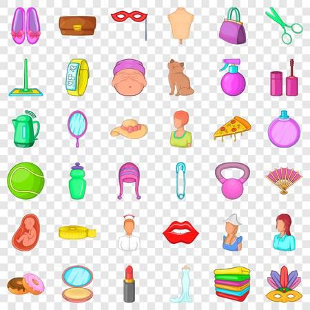 Salon icons set, cartoon style