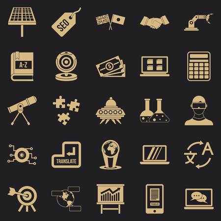 Education technology icons set, simple style