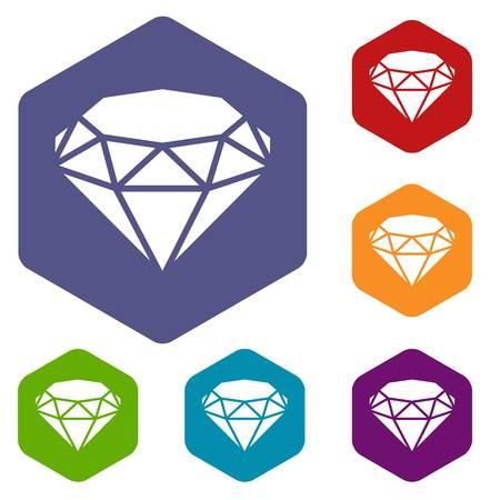 Diamond icons vector hexahedron
