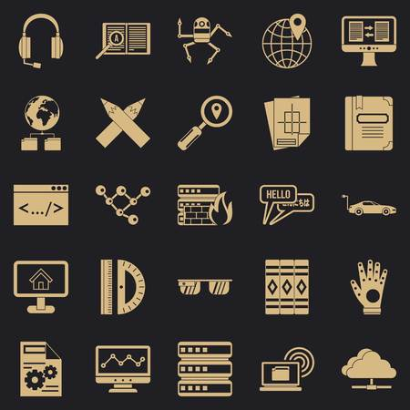 Things to study icons set, simple style