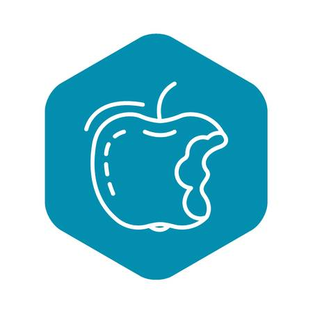 Eco apple icon, outline style