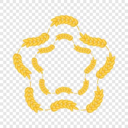 Ears wreath in flower shape icon. Cartoon illustration of ears wreath in flower shape vector icon for web design