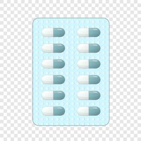 Tablets in a blister icon. Cartoon illustration of tablets in a blister vector icon for web design