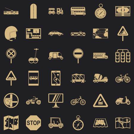Location mark icons set, simple style