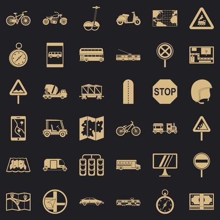 Address icons set, simple style