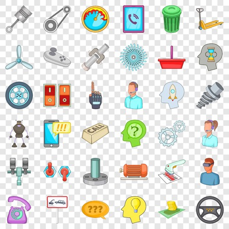 Shop reader icons set, cartoon style