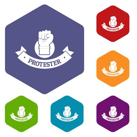 Protester hand icons vector hexahedron