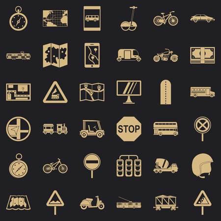 Interface icons set, simple style Illustration