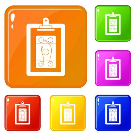Game plan icons set vector color