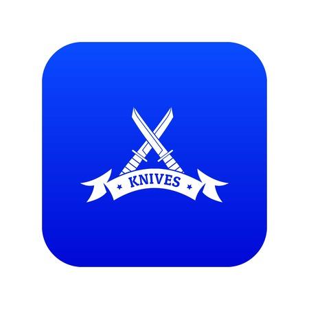Knive shop icon blue vector Illustration