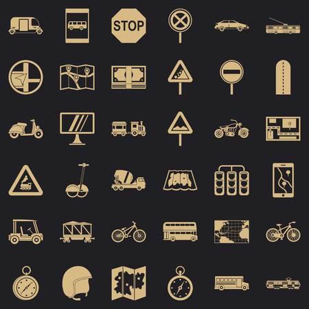 Navigation icons set, simple style Illustration