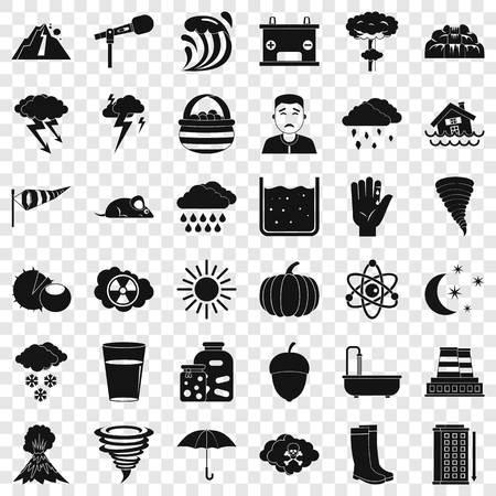 Weather icons set, simple style Ilustração