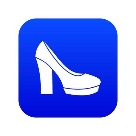 High heel shoes icon digital blue