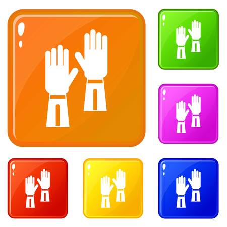 Gloves icons set collection vector 6 color isolated on white background