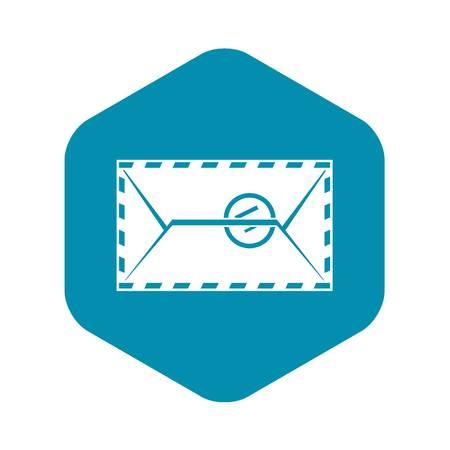 Mail envelope with a stamp icon. Simple illustration of mail envelope with a stamp vector icon for web Ilustração