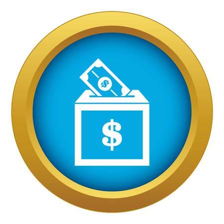 L'icône de la boîte de dons vecteur bleu isolé sur fond blanc pour toute conception