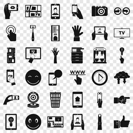 Downloading icons set. Simple style of 36 downloading vector icons for web for any design