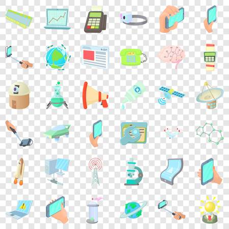 Communication icons set, cartoon style