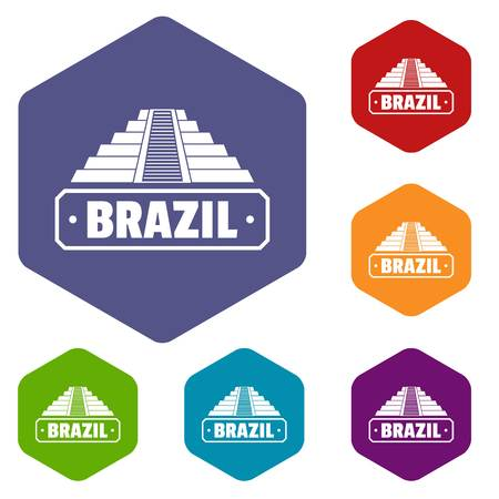 Brazil country icons vector hexahedron  イラスト・ベクター素材