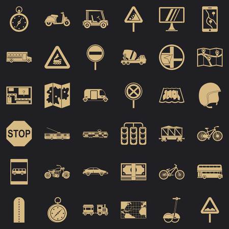 Gps icons set, simple style