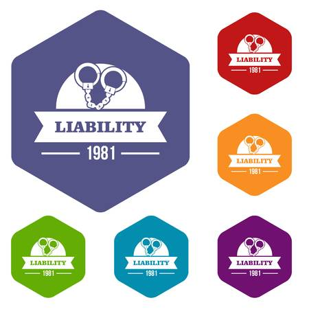 Liability icons vector hexahedron Illustration