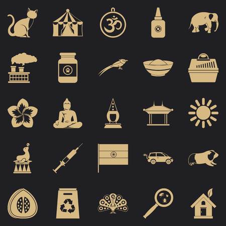 Habitat icons set, simple style