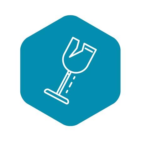 Icono de copa de vino de crack. Esquema de copa de vino crack icono vectoriales para diseño web aislado sobre fondo blanco.