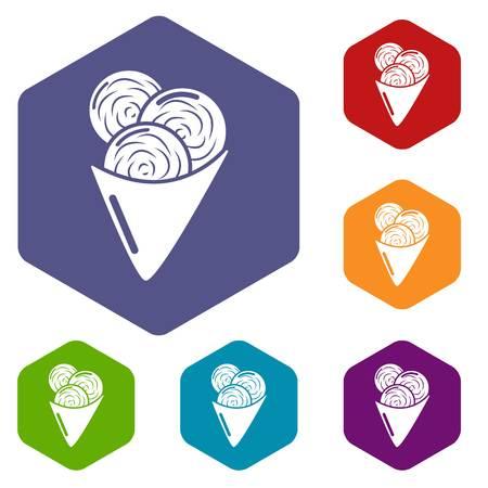 Ice cream icons vector hexahedron