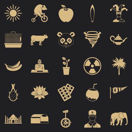 Living area icons set, simple style