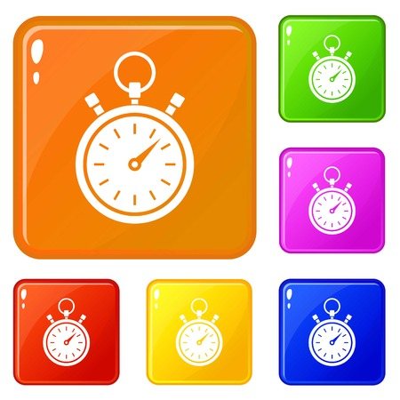 Stopwatch icons set vector color Illustration