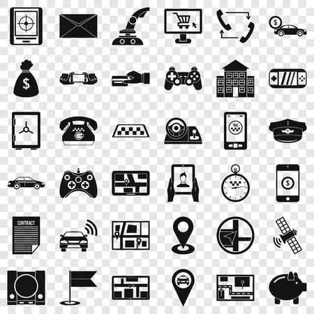 Button icons set, simple style  イラスト・ベクター素材
