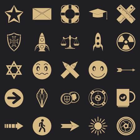 Ideograph icons set, simple style Çizim