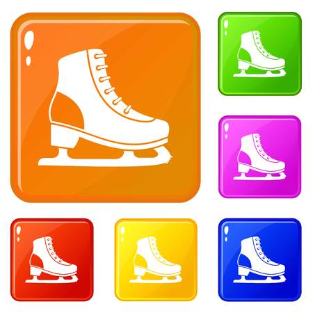 Ice skate icons set vector color