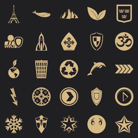 Pin icons set, simple style