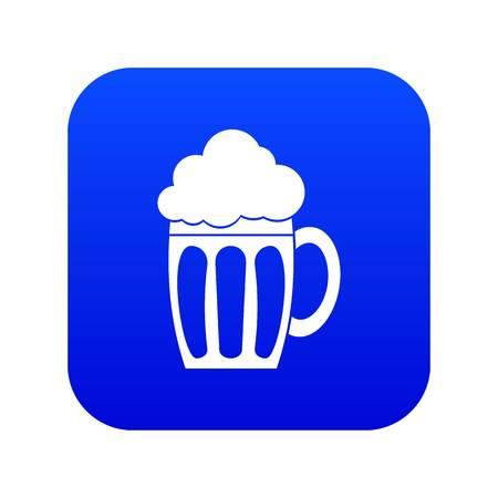 Beer icon digital blue Stok Fotoğraf - 124724356