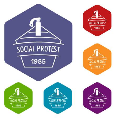 Social protest riot icons vector hexahedron