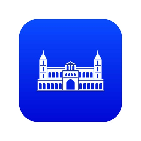 Castle icon digital blue for any design isolated on white vector illustration Illustration