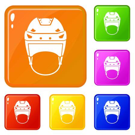 Hockey helmet icons set collection vector 6 color isolated on white background