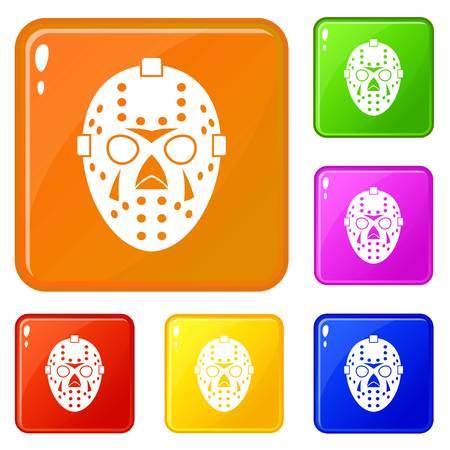 Goalkeeper mask icons set vector color Иллюстрация