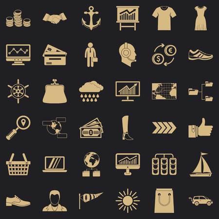 Shipment icons set, simple style Çizim
