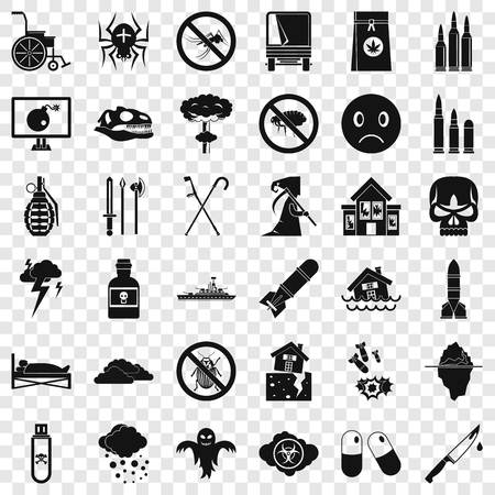 Crutch icons set, simple style