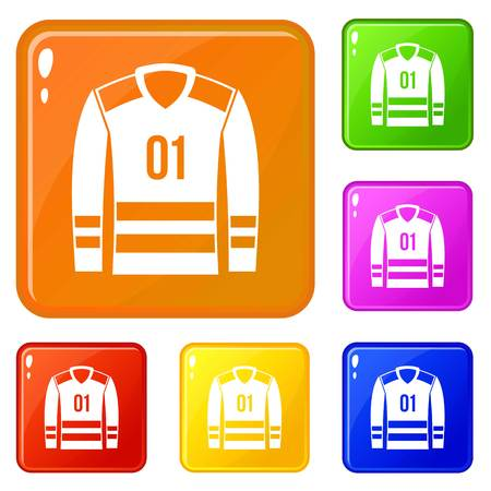 Sport uniform icons set vector color
