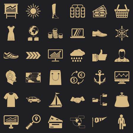 Compass icons set, simple style