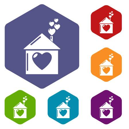 Mother house icons vector hexahedron Çizim