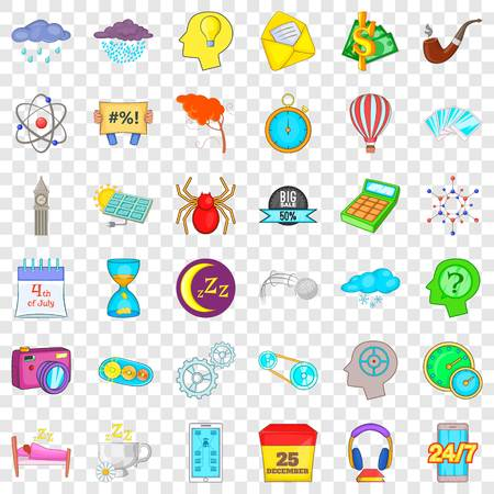 Screen icons set, cartoon style
