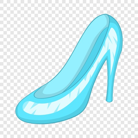 Glass slipper icon, cartoon style