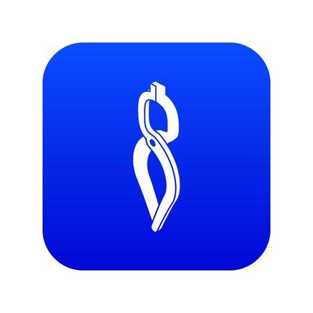 Blacksmith tong icon blue vector isolated on white background