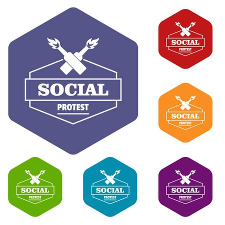 Social protest molotov cocktail icons vector hexahedron