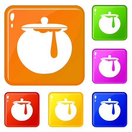 Honey pot icons set vector color Illustration